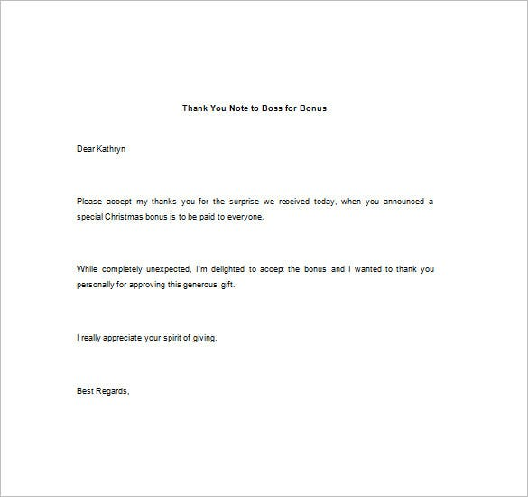 Free Thank You Note To Boss For Bonus Download  Thank You Letter To Boss