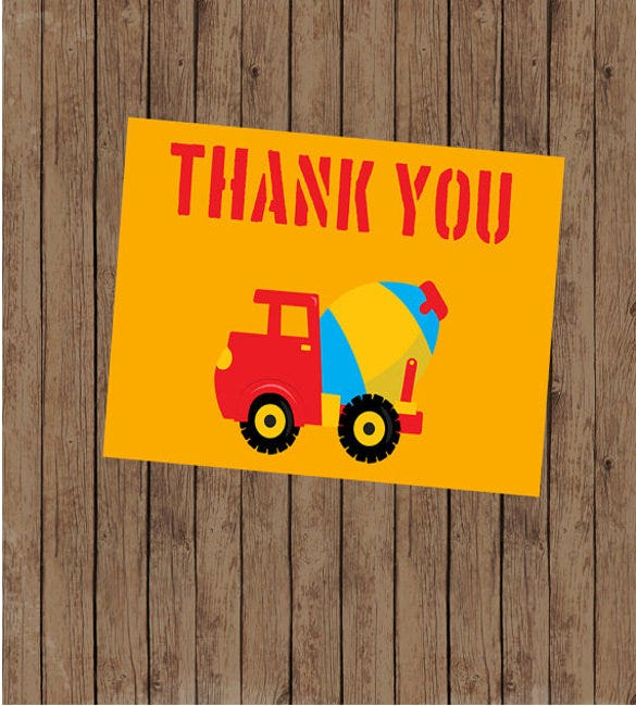 printable boys construction theme birthday thank you note
