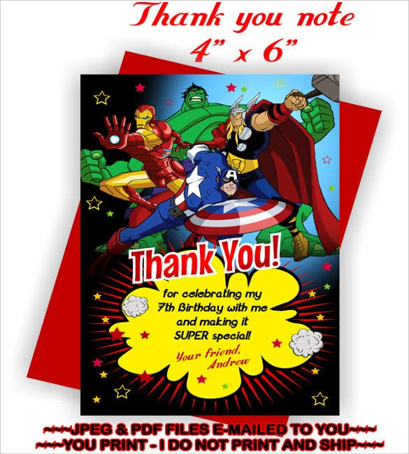 avengers birthday thank you note