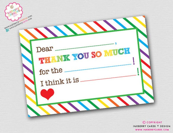rainbow stripe fill in the blank thank you note