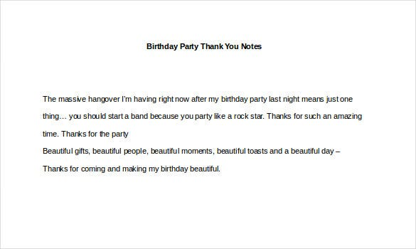 Birthday Party Thank You Notes Example