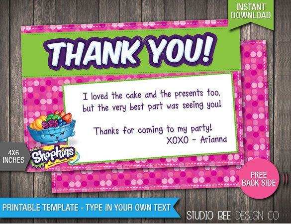 shopkins thank you card