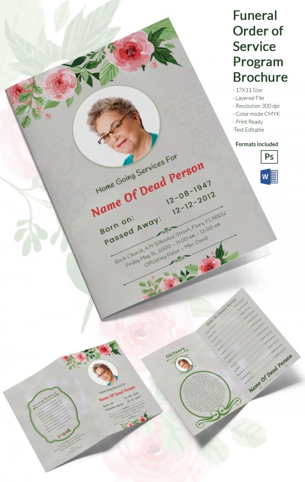 Funeral Ceremony Order of Service Brochure Word Template