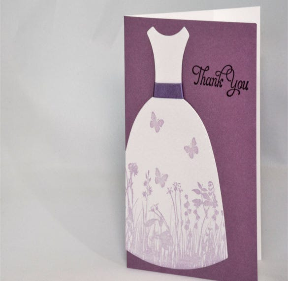 purple dress bridal shower thank you note cards