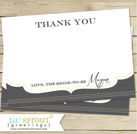 coordinating bridal shower thank you note