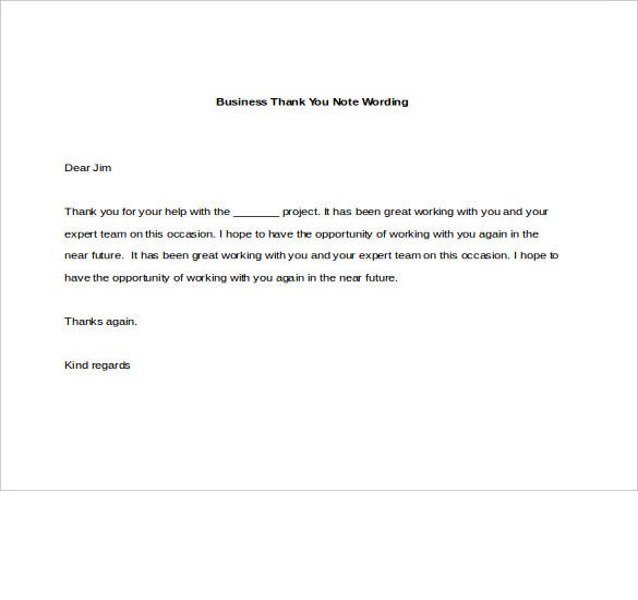 8 Business Thank You Notes Free Sample Example Format