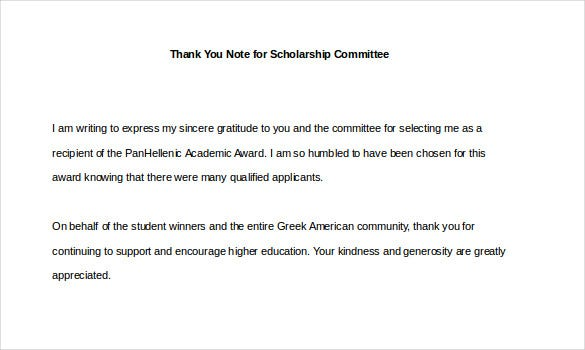 9 thank you notes for scholarship free sample example format sample thank you note for scholarship committee expocarfo