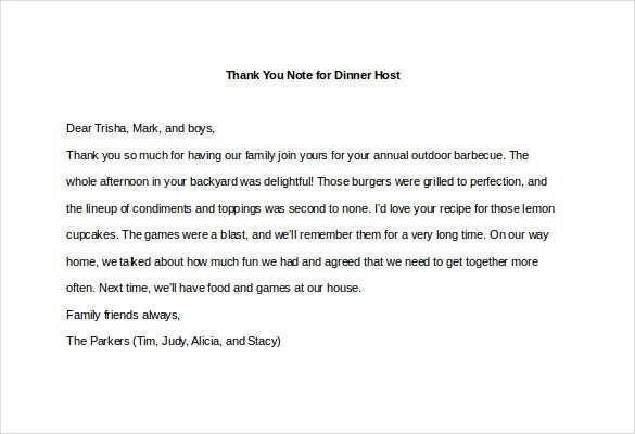 8+ Thank You Note For Dinner – Free Sample, Example, Format Download ...