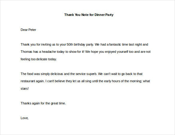 8 thank you note for dinner free sample example format download thank you note for dinner party example expocarfo