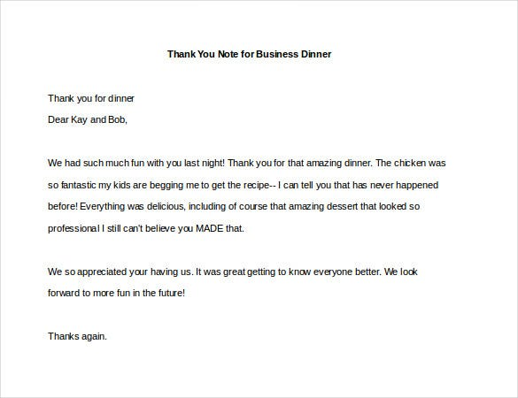 Thank You Note For Dinner  Free Sample Example Format
