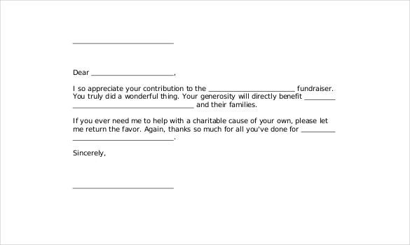 Fund Raiser Thank You Letter. If Someone Has Extended His Or Her
