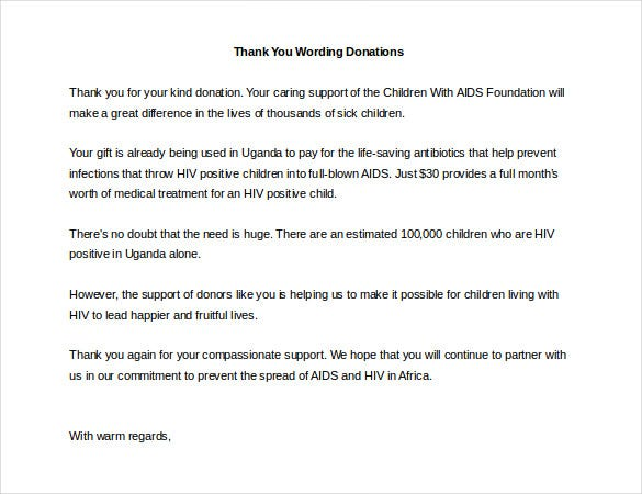 Sample donation thank you letter 7+ documents in pdf, word.