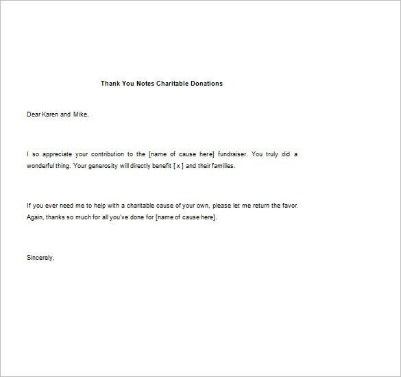 Thank You Notes For Donations  Free Sample Example Format