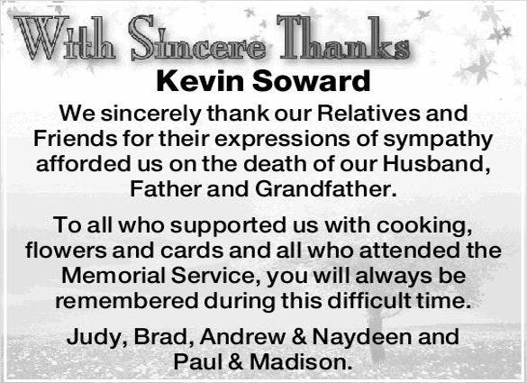 Bereavement Thank You Notes For Newspaper1