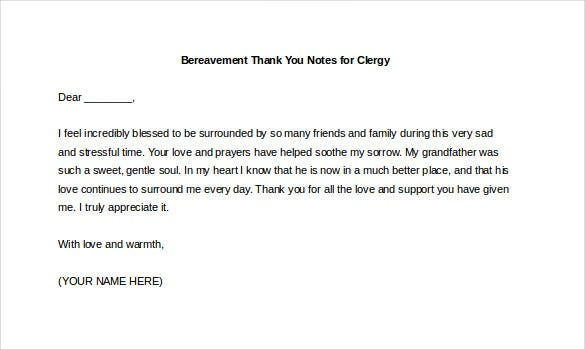 10 Bereavement Thank You Notes Free Sample Example format – Funeral Thank You Note