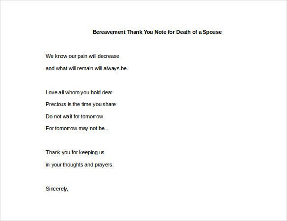 in case of the passing away of a spouse the sample bereavement thank you note for death of a spouse can be downloaded and edited to send thank you notes