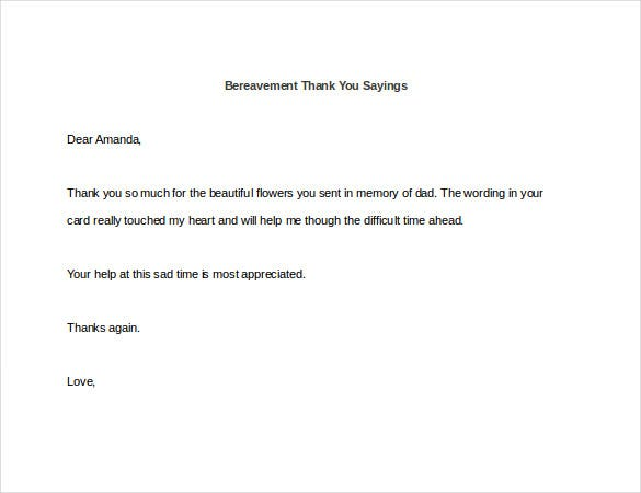 bereavement thank you sayings sample