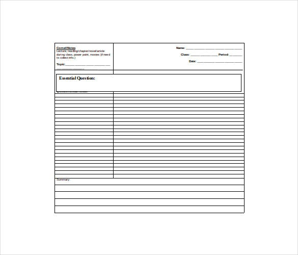 blank cornell note free word format download