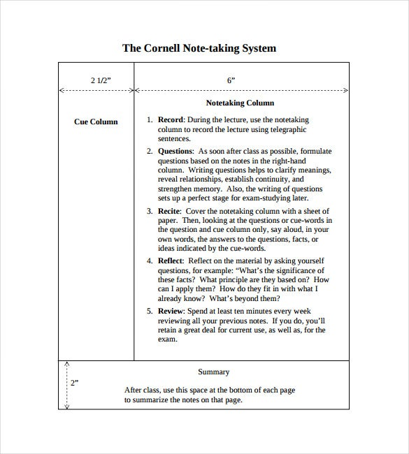 Cornell Note Templates  Free Sample Example Format Download