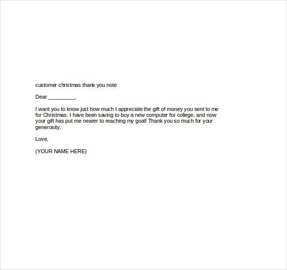 Christmas Thank You Notes  Free Sample Example Format