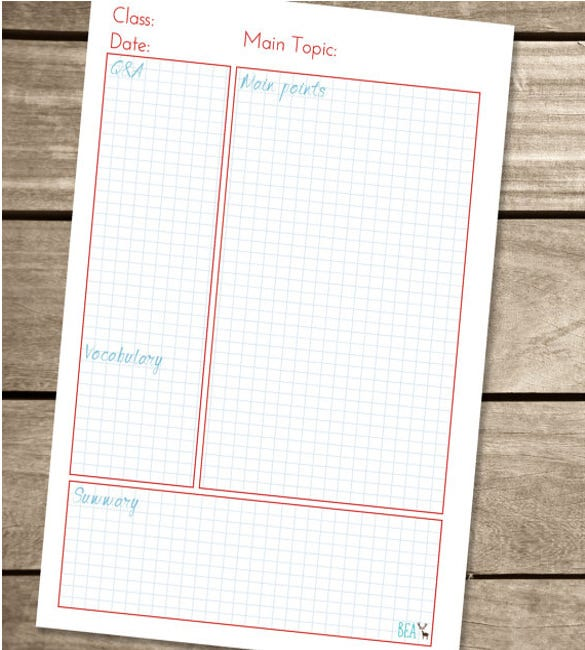 10+ Cornell Note Templates – Free Sample, Example, Format Download