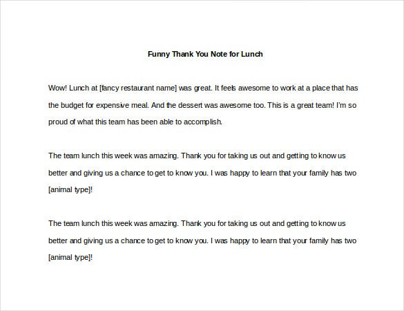 Funny Thank You Notes  Free Sample Example Format Download