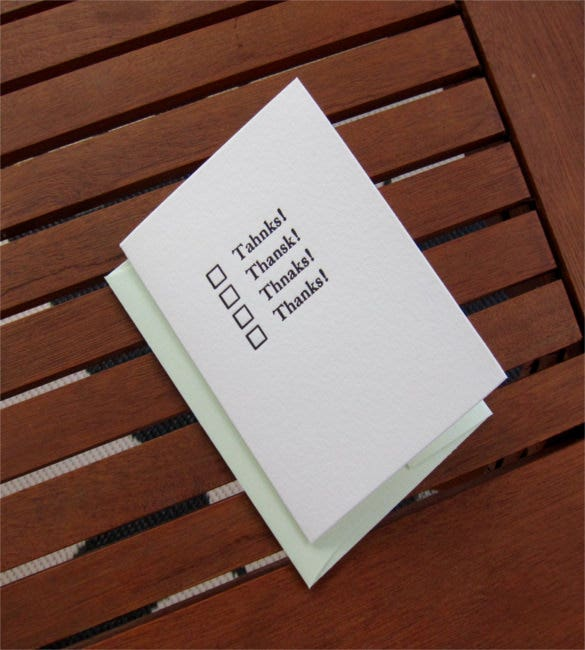 letterpress funny thank you note