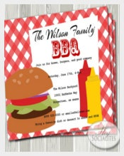 BBQ Invitation Hamburger, Picnic, Barbeque, Company Picnic