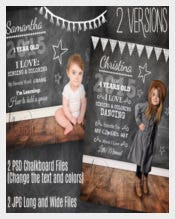 Baby, Toddler, Child, Party Chalkboard Overlay Photoshop Template with Details