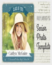 Blue Senior Graduation Photo Template