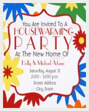 Bright Flowers Housewarming Party Invitation