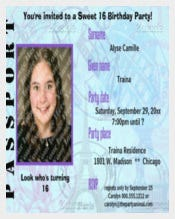 Customizable Passport Sweet 16 Party Invite