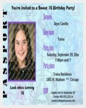 Customizable Passport Sweet 16 Party Invite