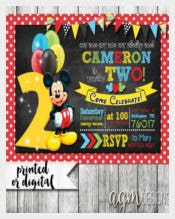 Dark Mickey Mouse Invitation, Mickey Mouse Second Birthday,