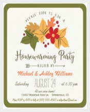 Elegant Fall Leaves, Floral Housewarming Party Invitation