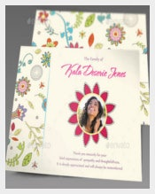 Floral Dreams Funeral Thank You Invitation Card