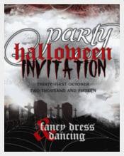 Full Moon Cemetery Dreams Halloween Party Invite
