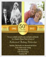 Golden 50 Anniversary photo Invitations