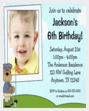 Kids Golf Bear Photo Birthday Party Invitation