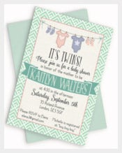Onesie Its Twins Baby Shower Invitation