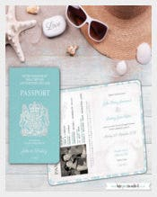 Passport Wedding Invites, Sample Invitation and RSVP Boarding Card