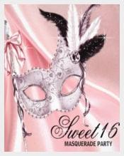 Pink Black 16 Masquerade Party Invitation