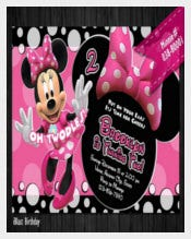 Pink Color Minni Mouse Birthday Invitation
