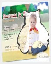Pokemon Snorlax Invitation Card, Kids Birthday, Cute Horizontal Postcard,