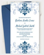 Printable Wedding Invitation %22Elegant Ironwork%22 with Ornaments in Navy Blue