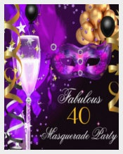 Purple Gold Black Masquerade Party Invitation