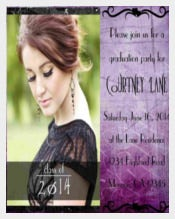 Purple Photo Invitation or Announcement for Graduation, Quinceanera
