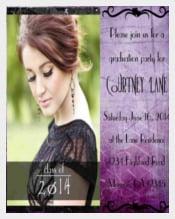 Purple Photo Invitation or Announcement for Graduation, Quinceanera