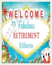 Retirement BANNER Personalized vinylw Grommets