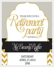 Retirement Party Invitation in Gold and Silver
